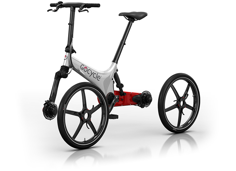 Gocycle's patented Pitstopwheels are easy to remove and side mounted which makes fixing a flat tire simple. The front and rear wheels are identical and interchangable. They are injection moulded in magnesium with a process called Thixomoulding.